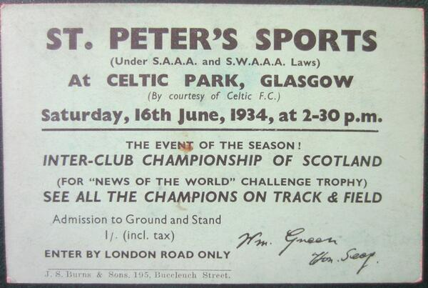 Programme for St Peter's Sports, Parkhead