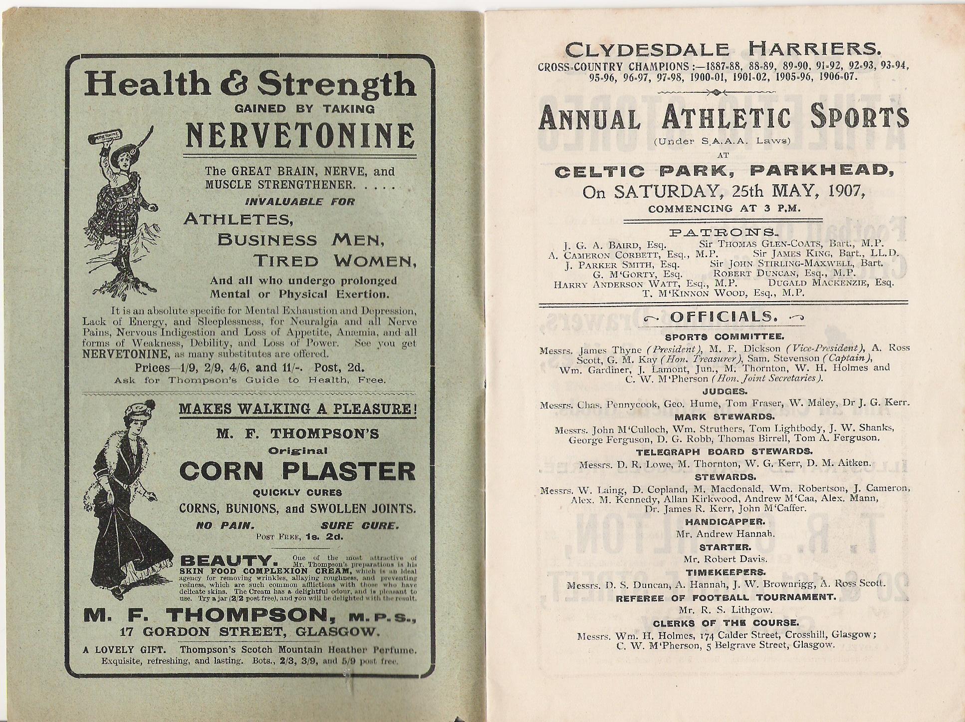 Celtic Sports programme, 1907