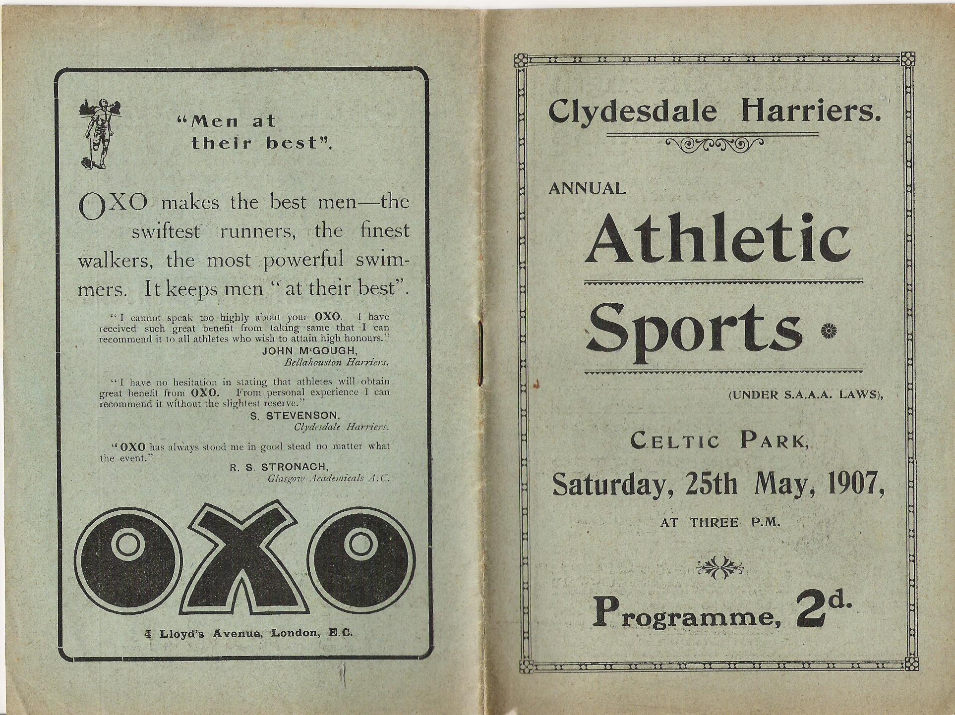 Celtic FC Sports programme, 1907