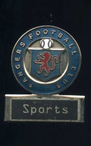 An official's badge from the Rangers Sports - not a cardboard or paper one, but a permanent metal one