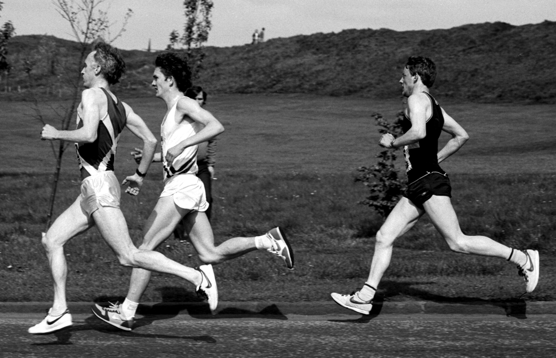 J Adair, L robertson, P Faulds, Edin. Half 1985. Photo - MacIndoe