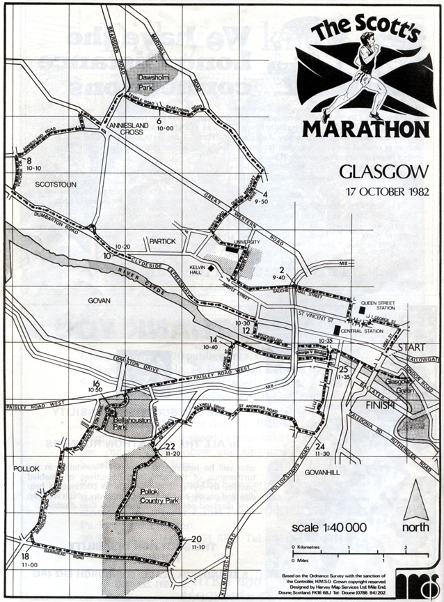 Glasgow Marathon Course - 1982