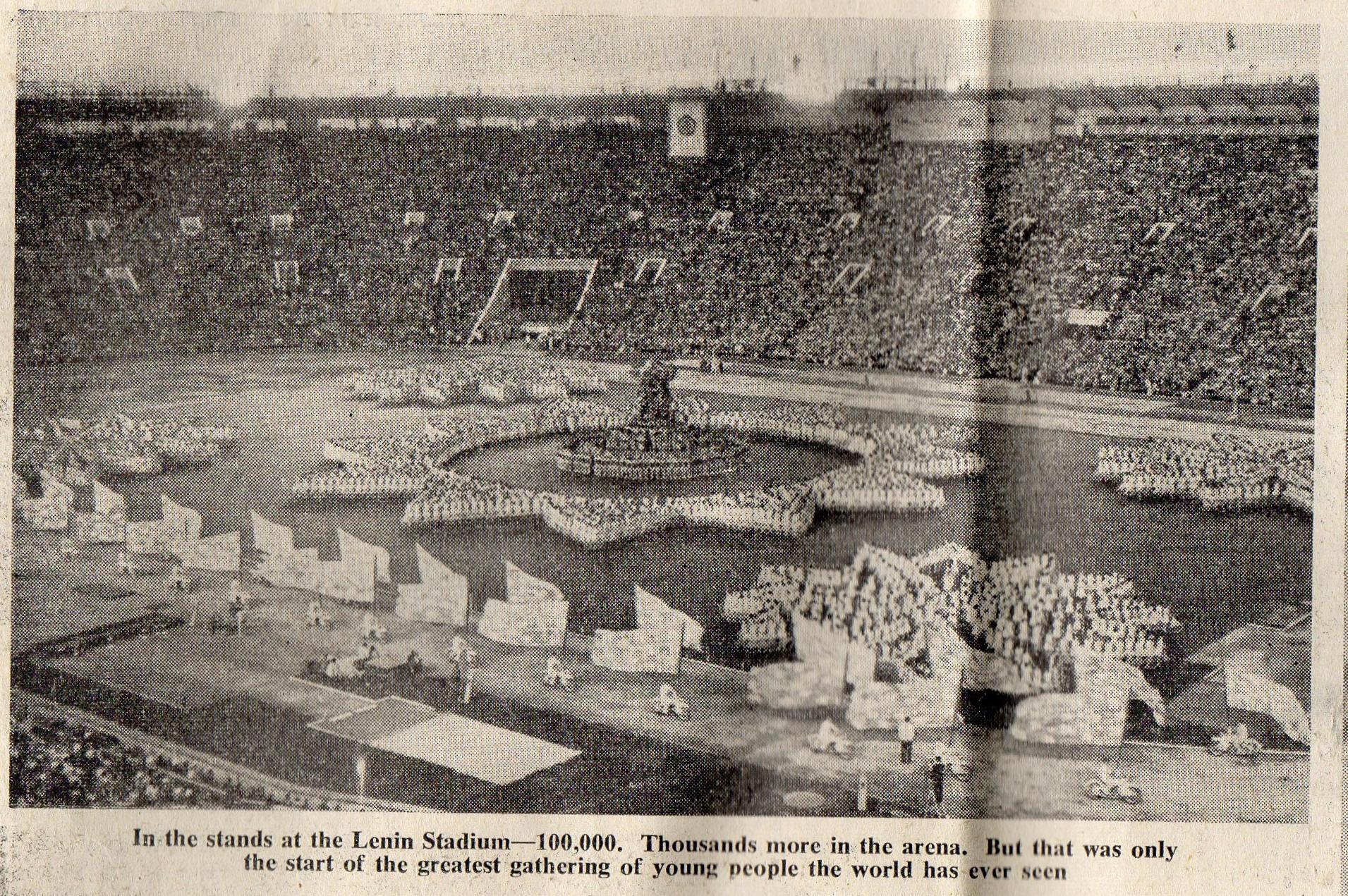 The opening ceremony in the Lenin Stadium