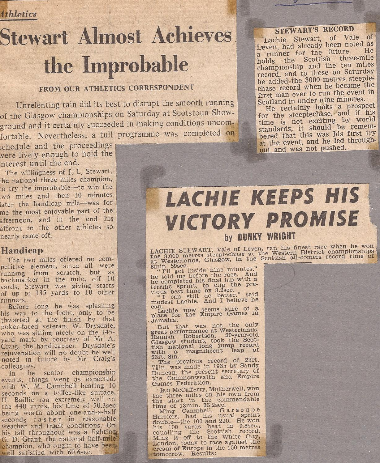Lachie May 66 Glasgow Champs