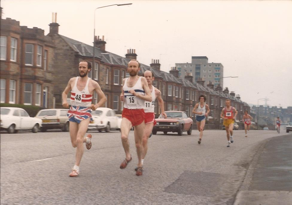 Shortly after the start: Graham Laing, Martin Craven and Sandy Cameron