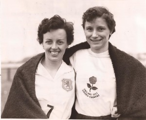Aileen Lusk (Scottish crosscountry champion and mile record holder) and Diane Leather (English CC Champion and mile record holder)